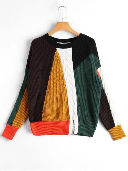 Gorgeous Slit Color Block Cable Knit Sweater