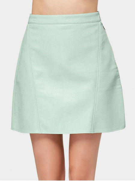 Cute Side Zip Faux Leather Mini Skirt