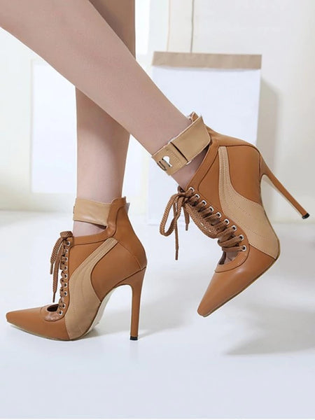 Stitching Pointed Toe Stiletto Ankle Boots