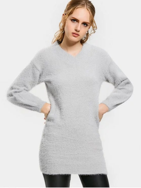 Fun Drop Shoulder Lantern Sleeve Sweater Dress