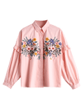 Gorgeous Loose Floral Embroidered Ruffled Shirt