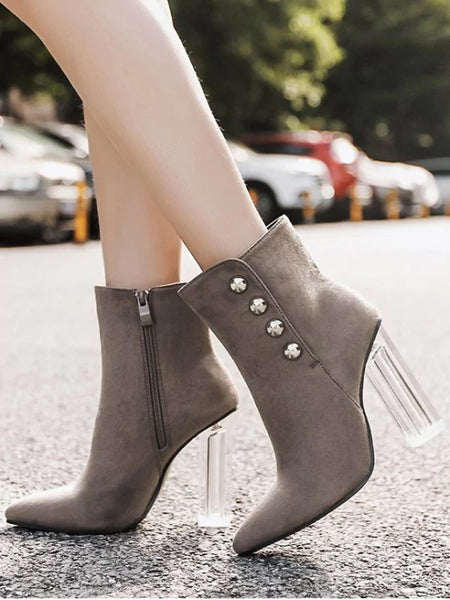 Fashion Chunky Heel Transparent Stud Ankle Boots