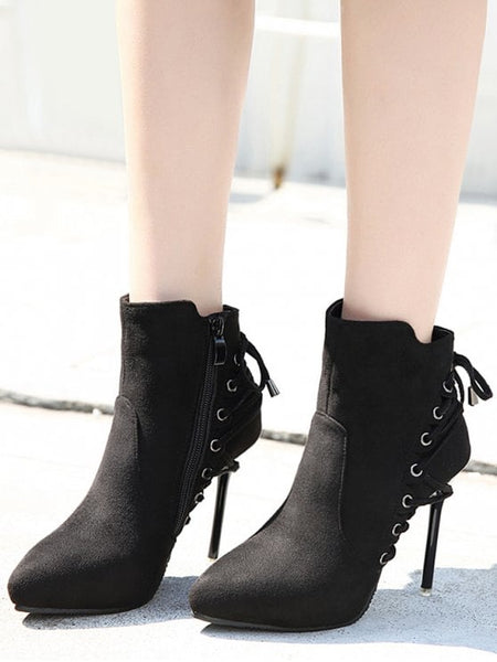 Trendy Pointed Toe Eyelet Stiletto Ankle Boots