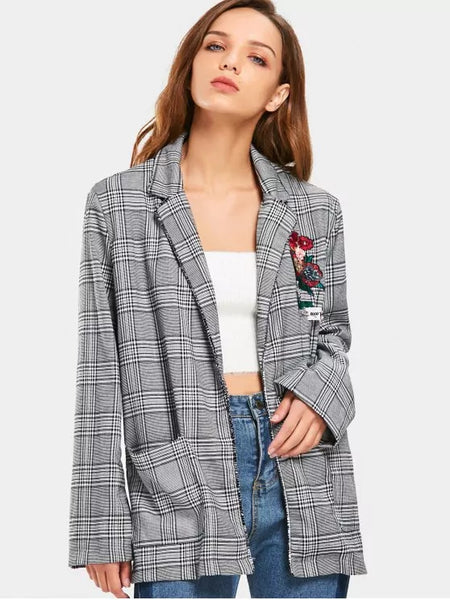 Trendy Checked Floral Applique Embroidered Blazer