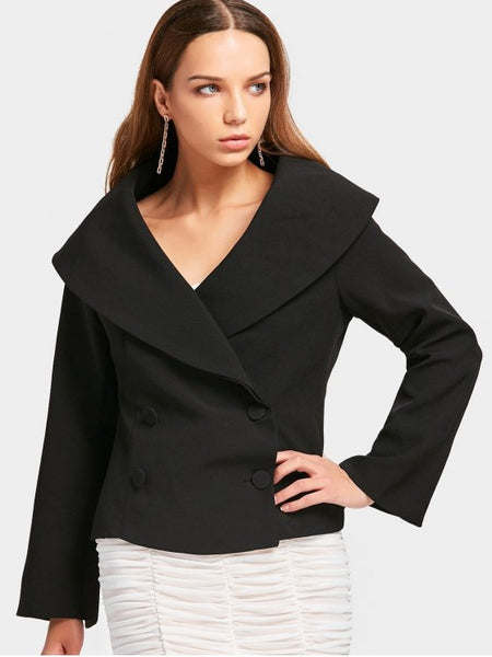 Trendy Skirted Fitting Double-breasted Blazer