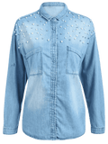 Pretty Beaded Embellished Pockets Denim Shirt