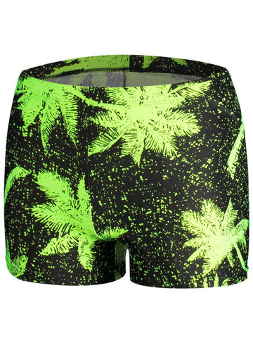 Trendy Leaf Print Swim Trunks