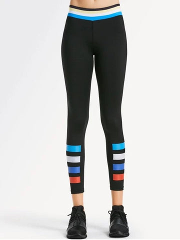 Trendy Slim Fit Color Block Sporty Leggings