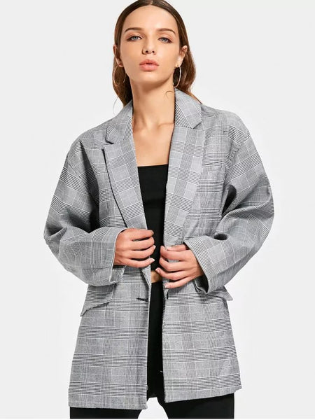 Stunning Long Sleeve Buttoned Checked Blazer