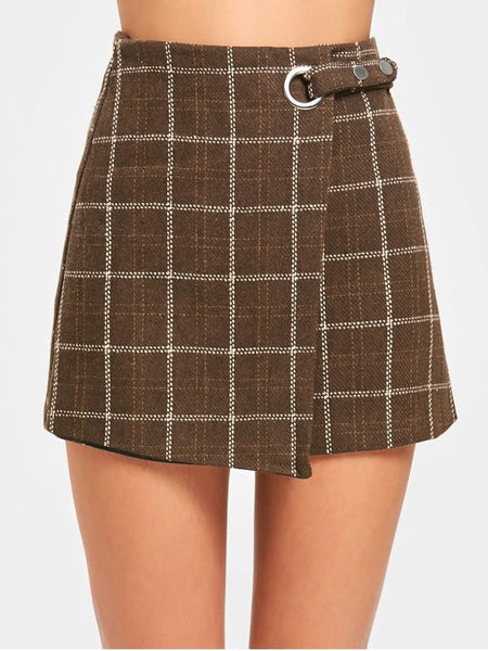 Fashion High Waist Embellished Checked Mini Skirt
