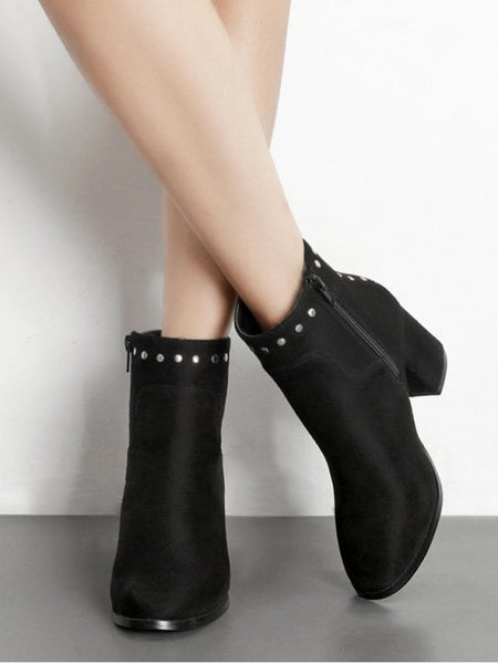 Trendy Rivet Chunky Heel Pointed Toe Ankle Boots