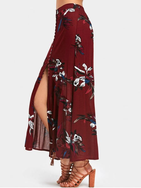 Trendy High Waisted Floral Print Maxi Skirt