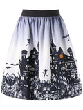 Chic Halloween Castle Print Ombre Swing Skirt