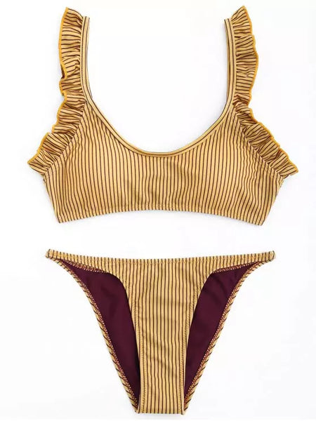 Fashion Frilled Stripe Bikini Set