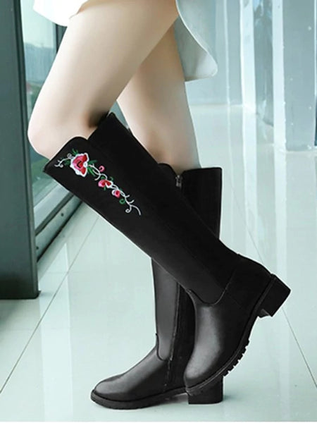 Trendy Flower Embroidery Low Heel Knee High Boots