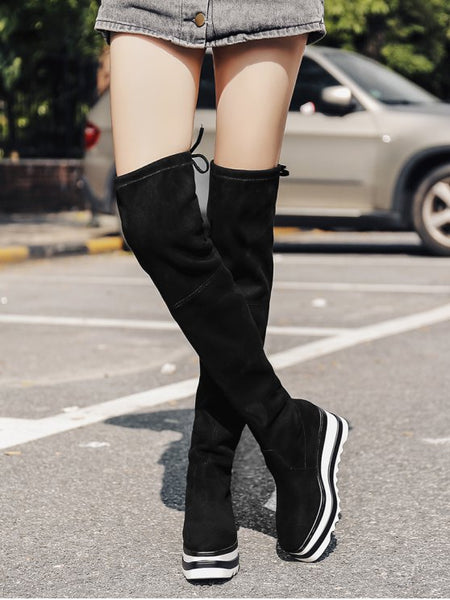 Fashion Wedge Heel Tie Back Over The Knee Boots