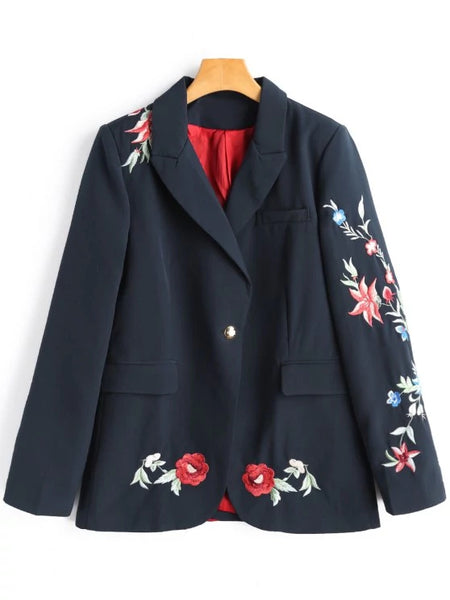 Trendy Flower Embroidered Blazer