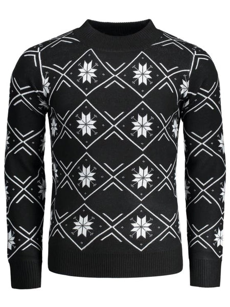 Trendy Mock Neck Snowflake Patterned Sweater