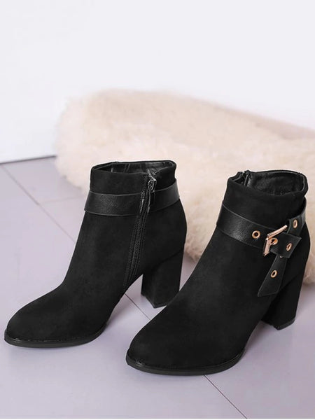 Trendy Buckle Strap Side Zipper Ankle Boots