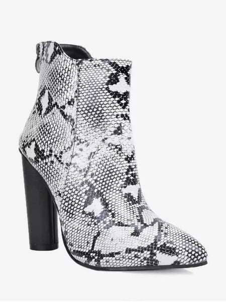Gorgeous Pointed Toe Snake Print Ankle Boots