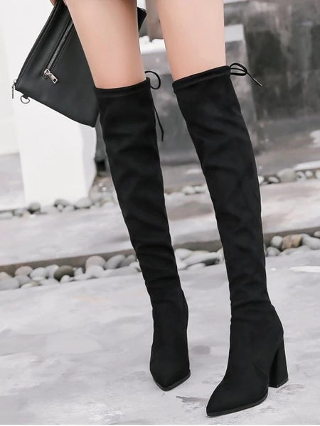 Trendy Pointed Toe Tie Back Thigh High Boots