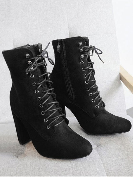 Trendy Chunky Heel Lace Up Ankle Boots