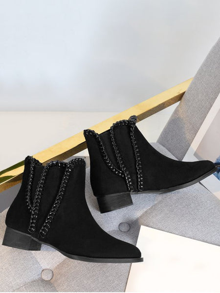 Trendy Low Heel Whipstitch Ankle Boots