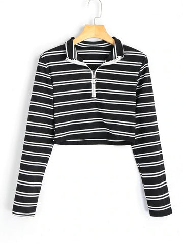 Unique High Neck Half Zip Striped Knitted Top