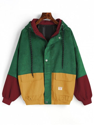 Green Hooded Color Block Corduroy Jacket