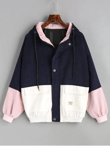 Navy Pink Hooded Color Block Corduroy Jacket