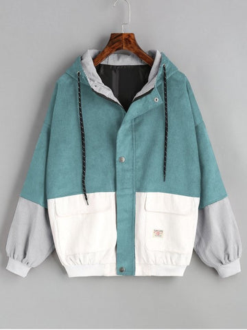 White Green Hooded Color Block Corduroy Jacket