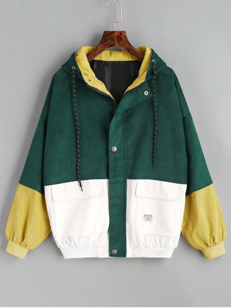 Fashion Green Hooded Color Block Corduroy Jacket