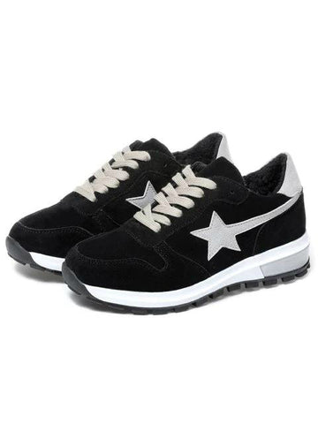 Simple  Block Star Patched Suede Sneakers