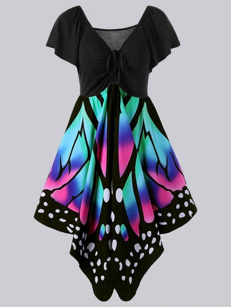 Graceful Plus Size Empire Waist Butterfly Print Dress
