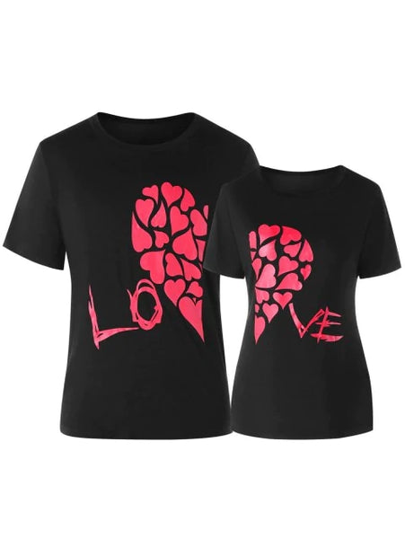 Lovely Heart Printed Matching Couple Short Sleeve T-shirt