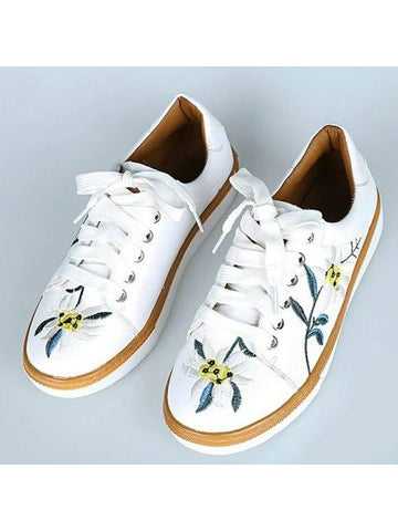 Marvelous Leather Floral Embroidered Sneakers