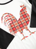 Romance Sleeve Plaid Rooster Print T-shirt