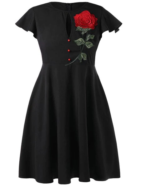Plus Size Vintage Party Dress with Embroidered