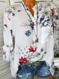 V-neck Floral Long Sleeves Blouses&shirts Tops