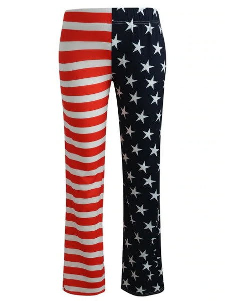 Luxurious Flag Print High Waist Pants