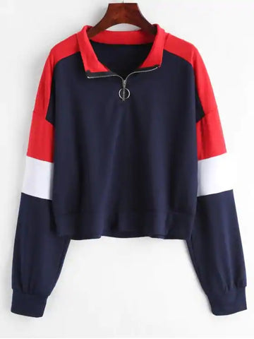 Navy Red Loose Color Block Half Zip Sweatshirt