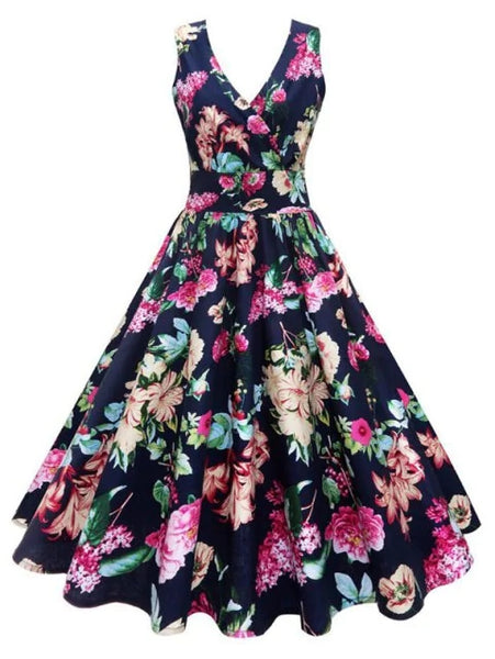 Plus Size Floral Printed Vintage Gown Dress