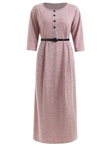 Trendy Plus Size Half Button Maxi T-shirt Dress
