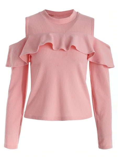 Fashion Cutout Shoulder Ruffle Tee