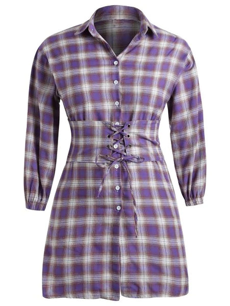 Plus Size Tartan Shirt Dress with Waistband Belt