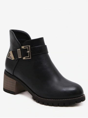 Cool Buckle Strap Mid Block Heel Short Boots