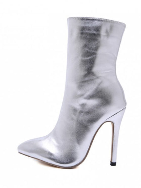Silver Pointed Toe High Heel Short Boots