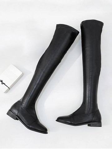 Fashion Flat PU Leather Thigh High Boots