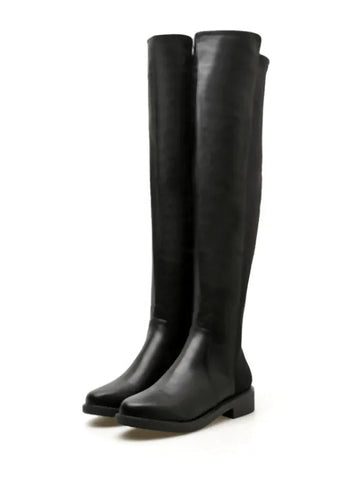 Chic Round Toe Flat Over The Knee Boots