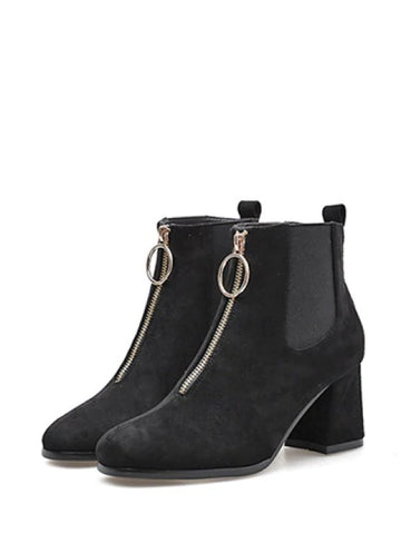 Chic Square Toe Front Zip Ankle Boots